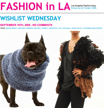 Fashion in LA 09 2009 dog with knitted collar neck warmer by SIUYIN CHAU